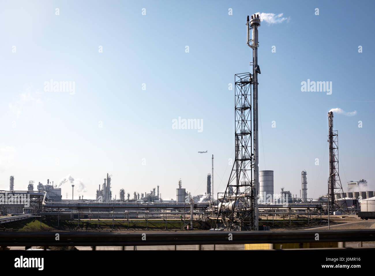 Oil installations in industrial zone in out skirts - Stock Image