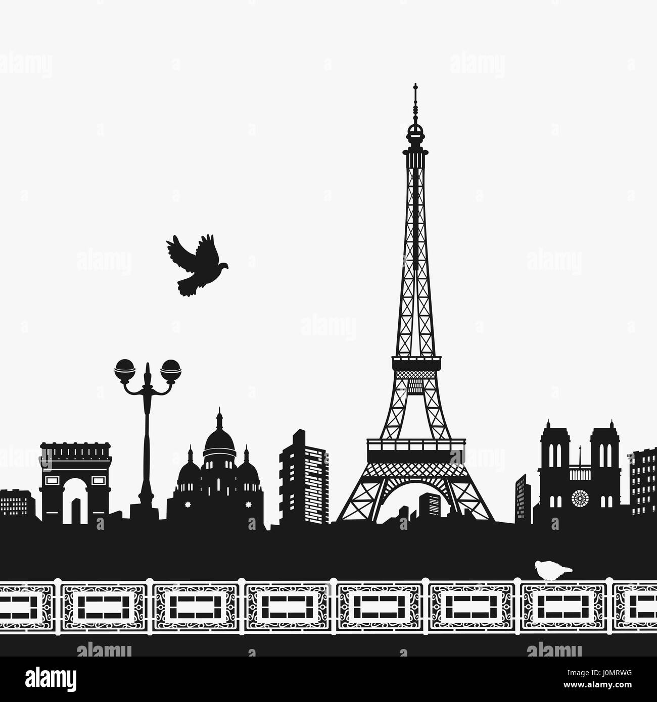 Vector Silhouette of the Eiffel Tower - Stock Vector