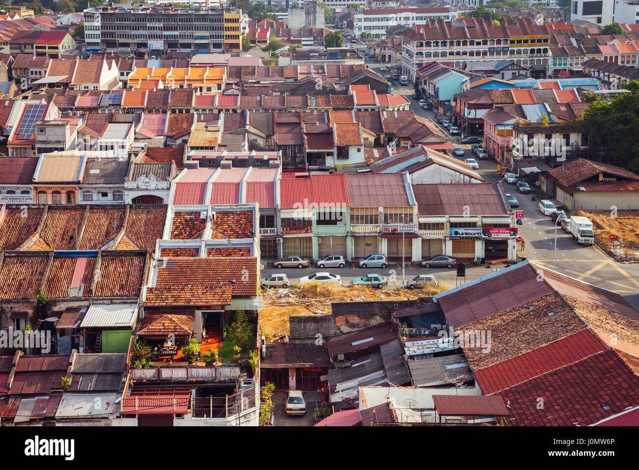Georgetown, Malaysia - March 27, 2016: Panoramic view over historical part of the Georgetown on March 27, 2016 in Stock Photo