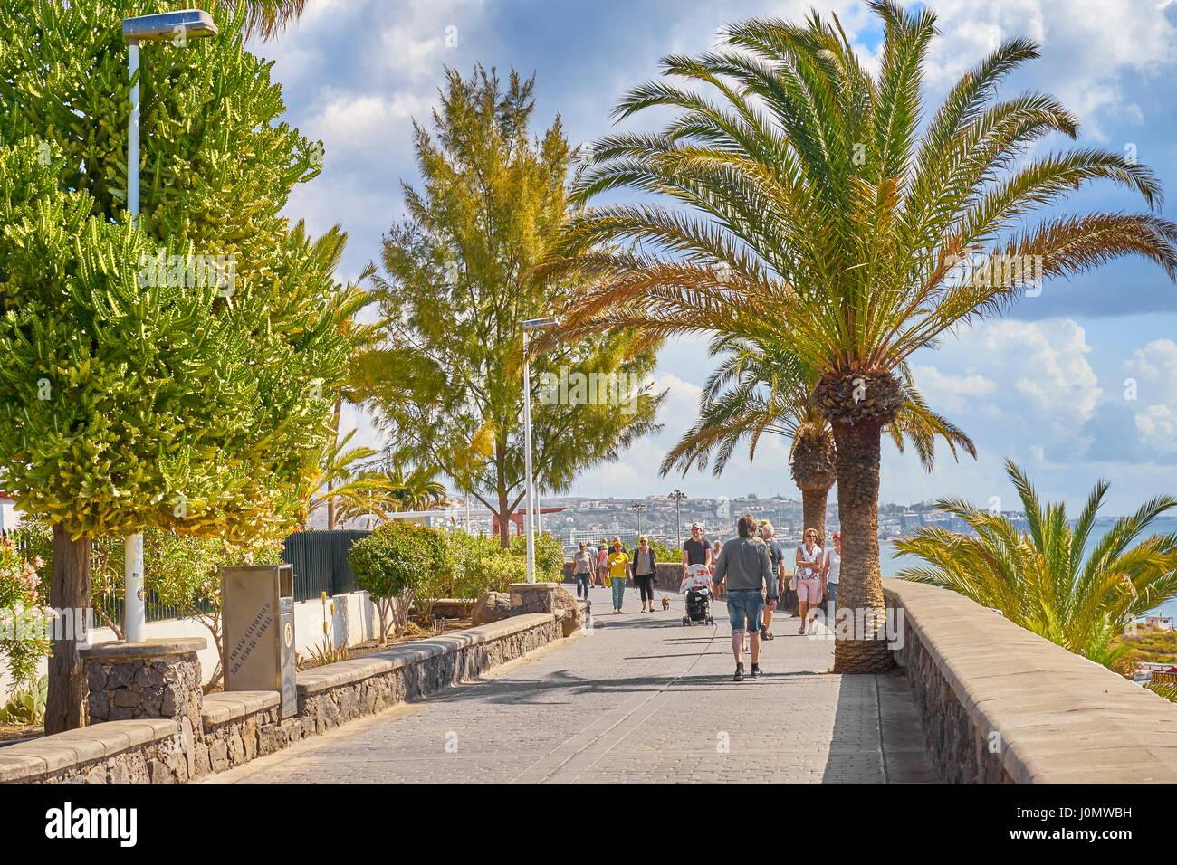 Playa de Ingles Promenade, Gran Canaria, Spain - Stock Image