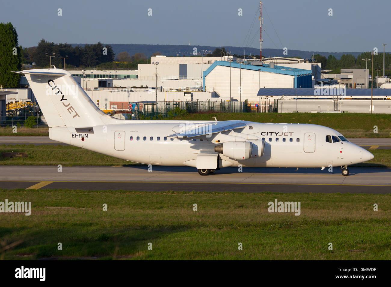 City jet Avro RJ85 Aircraft Image - Stock Image