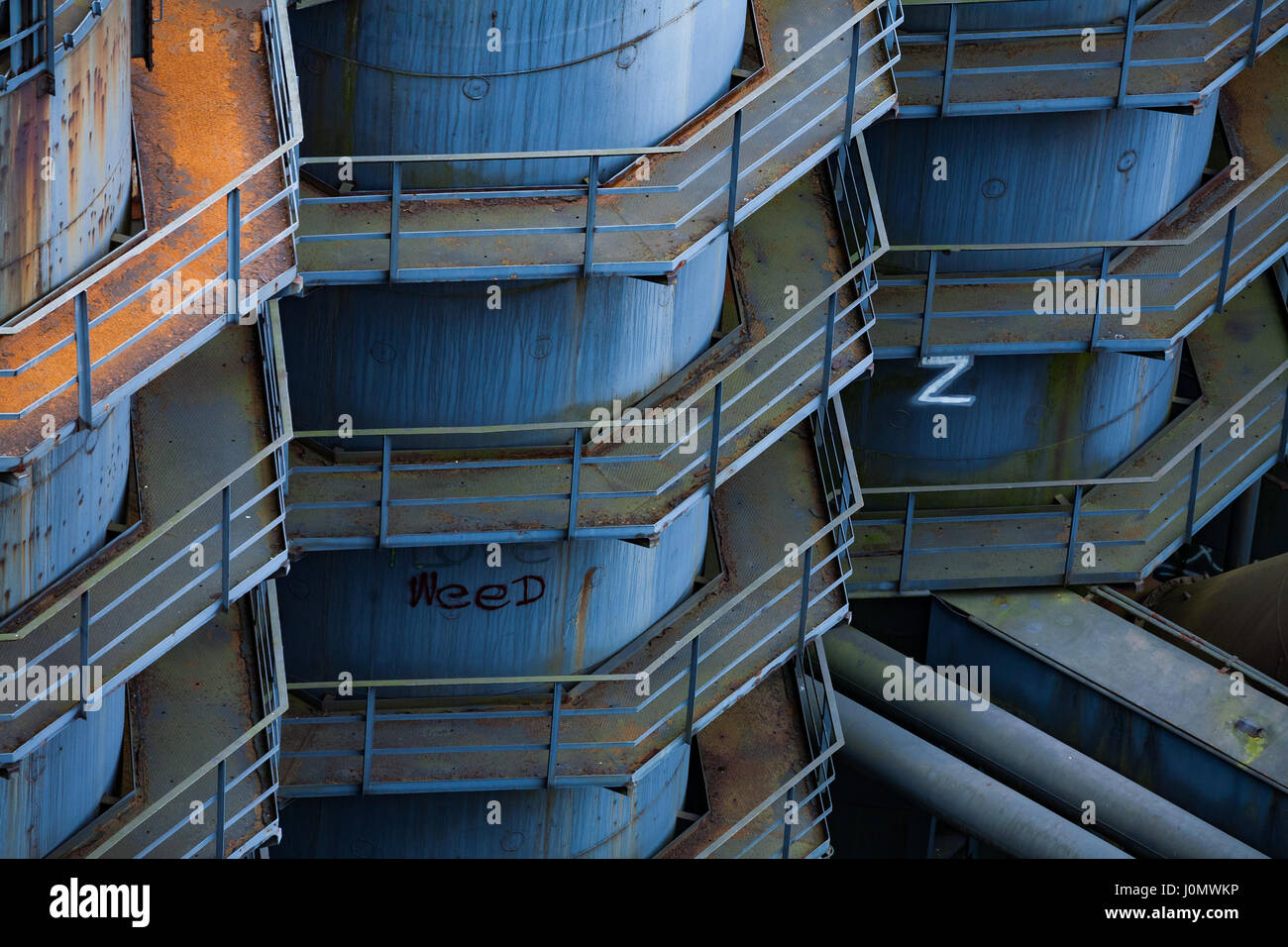 Corroding silos at Landschaftspark Duisburg-Nord, in Germany - Stock Image