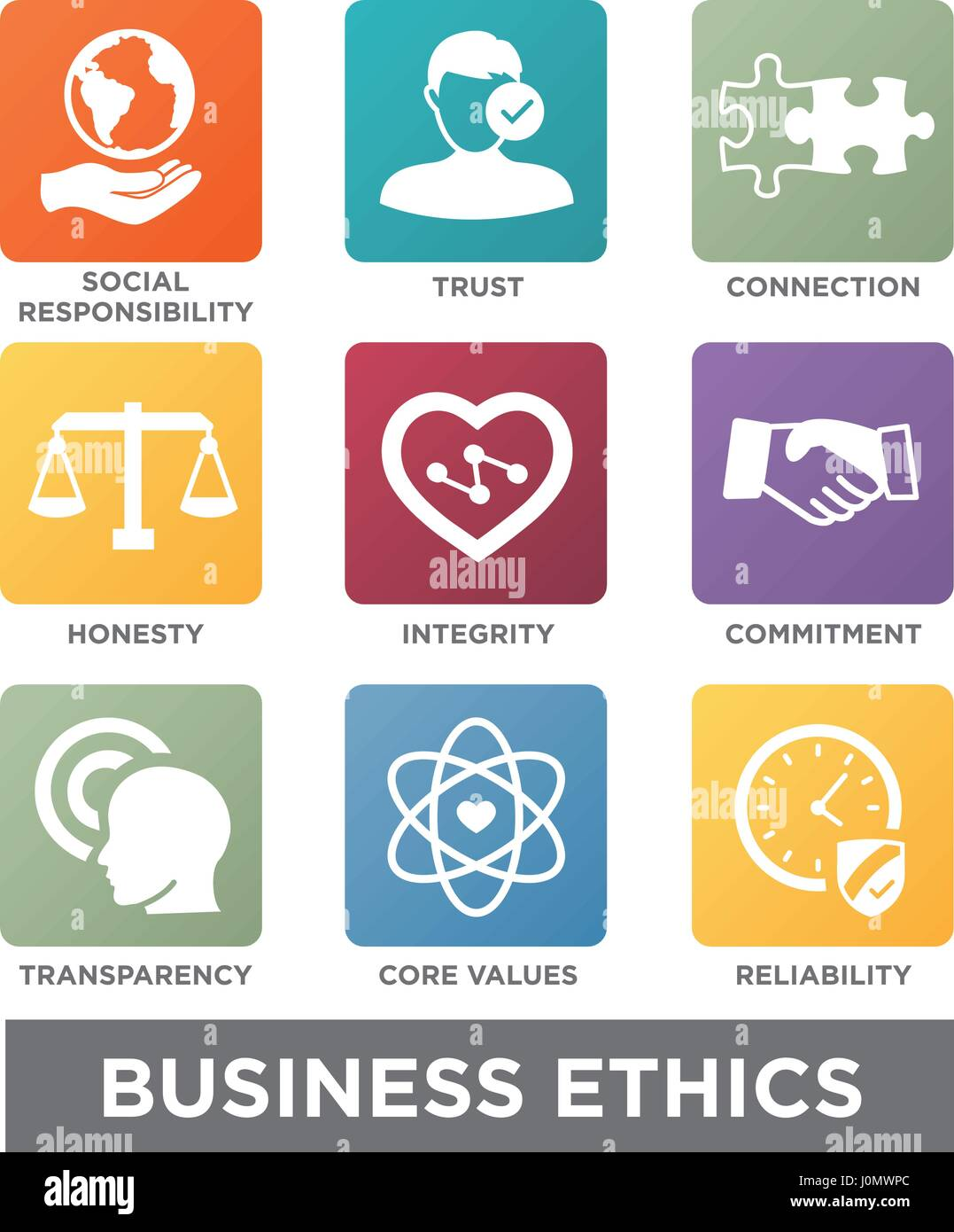 Business Ethics Solid Icon Set Isolated with Text - Stock Image
