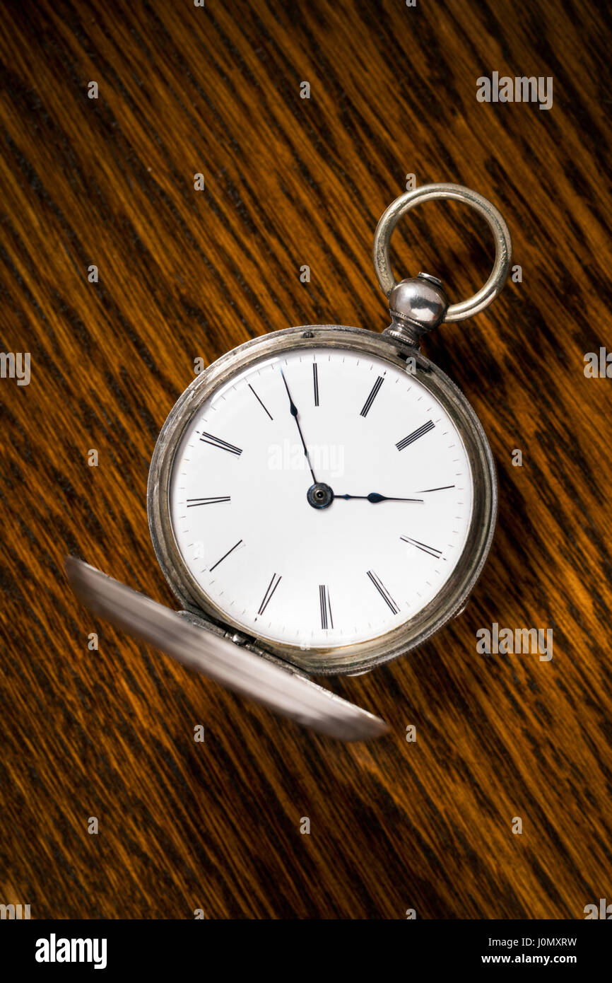 Antique Ami Sandoz & Fils Swiss hand carved Duplex Escapement style silver pocket watch c 1860 - Stock Image