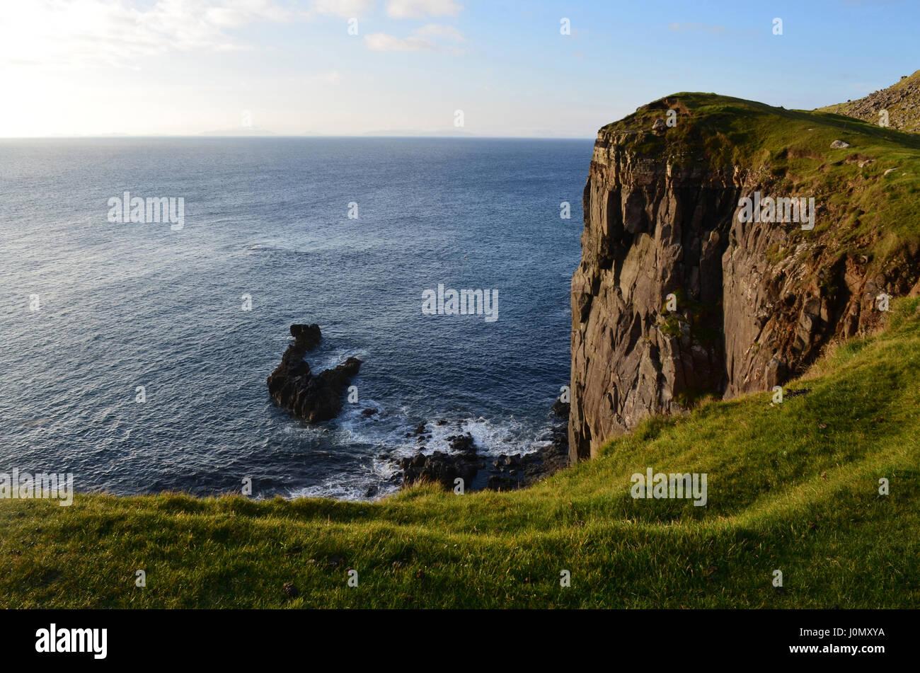 Skye's Neist Point has amazing tall sea cliffs. - Stock Image