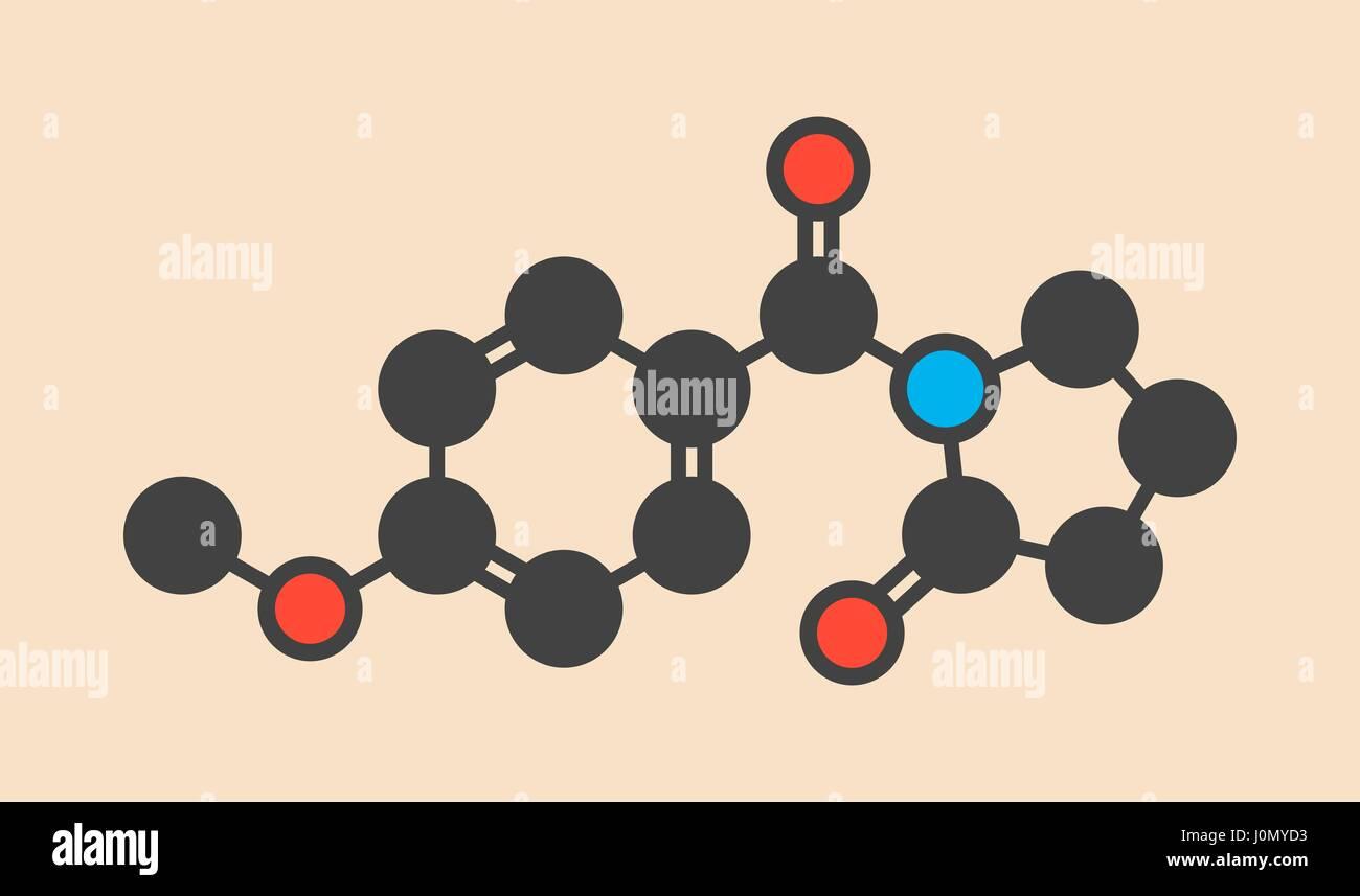Aniracetam Nootropic Drug Molecule Stylized Skeletal Formula Stock