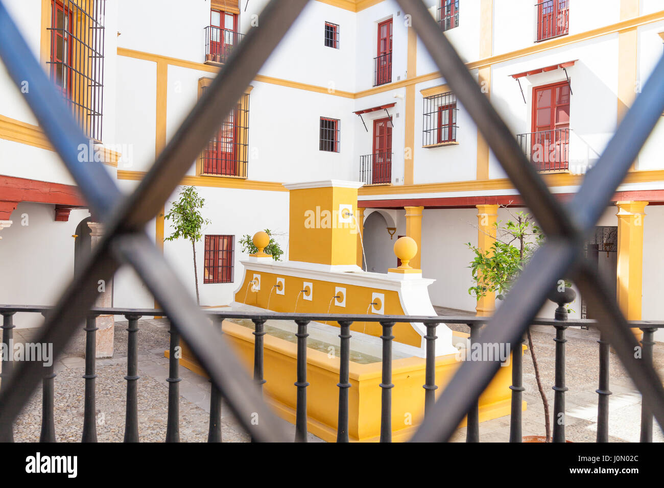 Detail of Plaza de Toros area in Seville - Andalusia Region - Spain - Stock Image