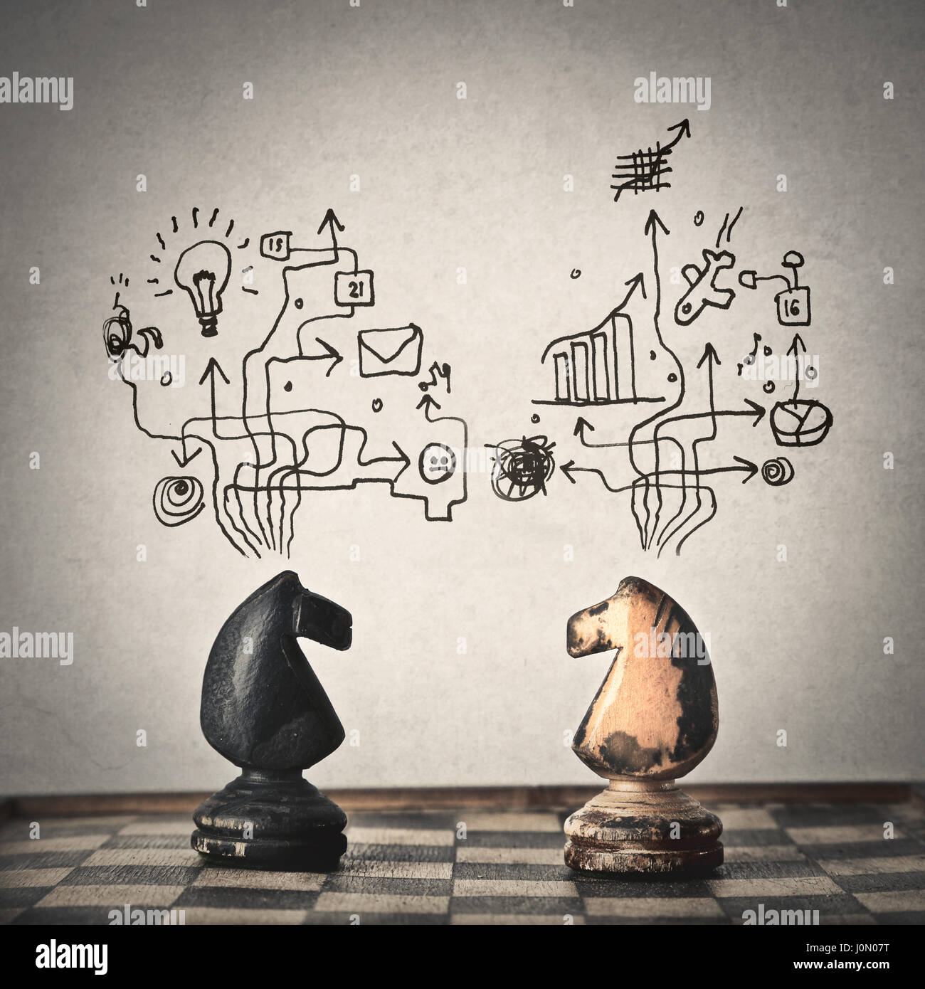 Two chess horses planning (with illustrations) - Stock Image