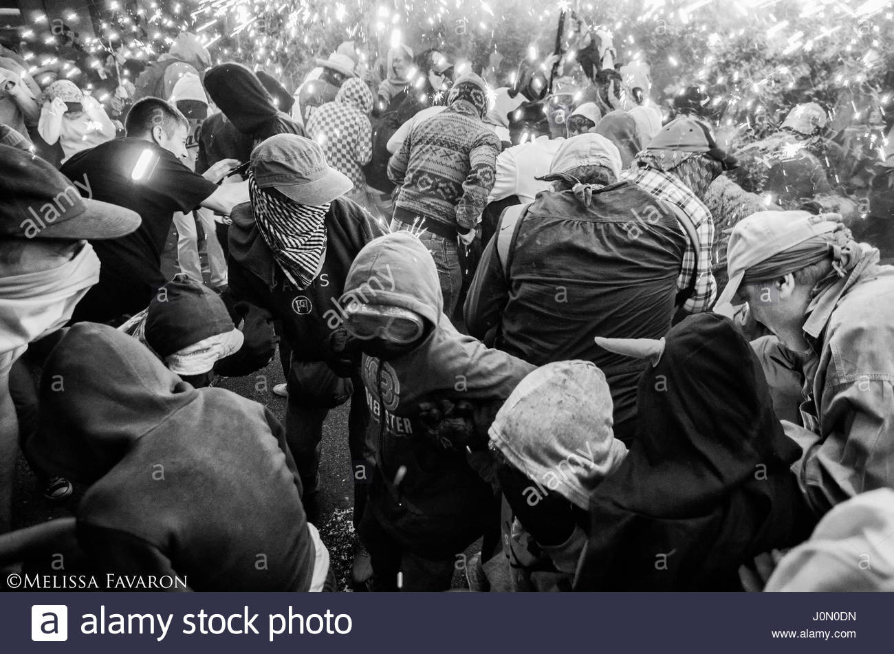 Violent May Day protests at No Expo anti-capitalist demonstration Students are protesting against the Expo on May - Stock Image