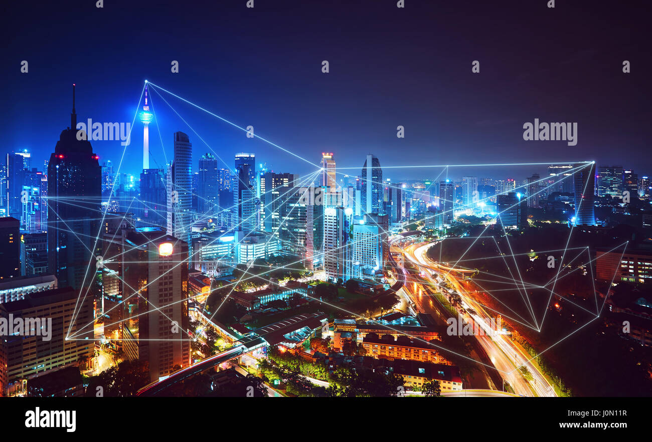 Beautiful city skyline view with network connection concept  ,Kuala lumpur, Malaysia. - Stock Image