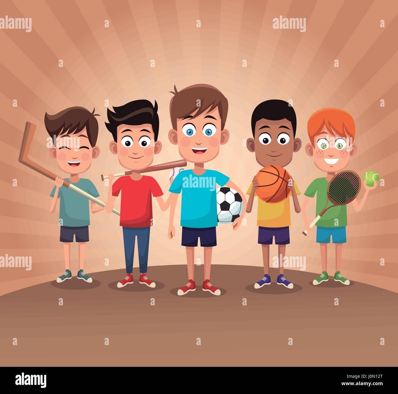 group boy sport exercise game Stock Vector