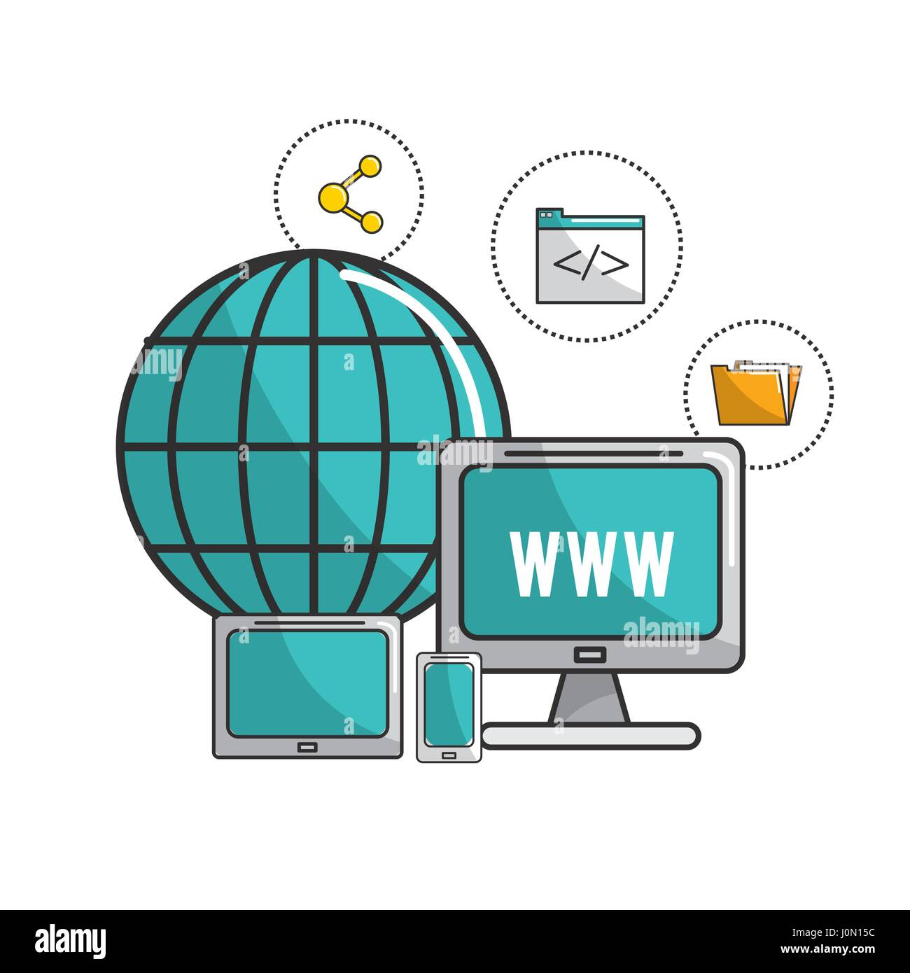 global computers connect data information - Stock Image