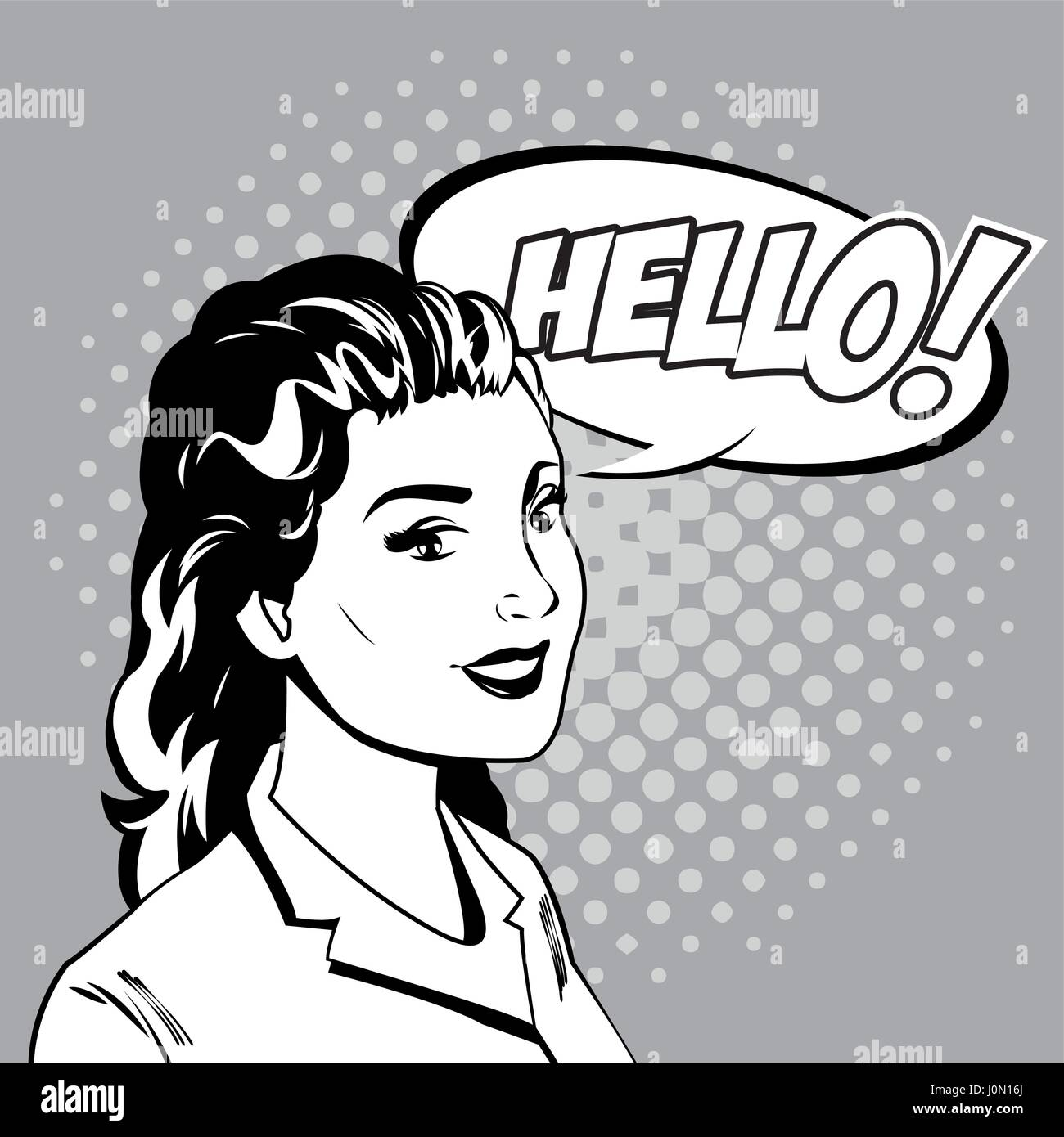 woman talk comic pop art Stock Vector
