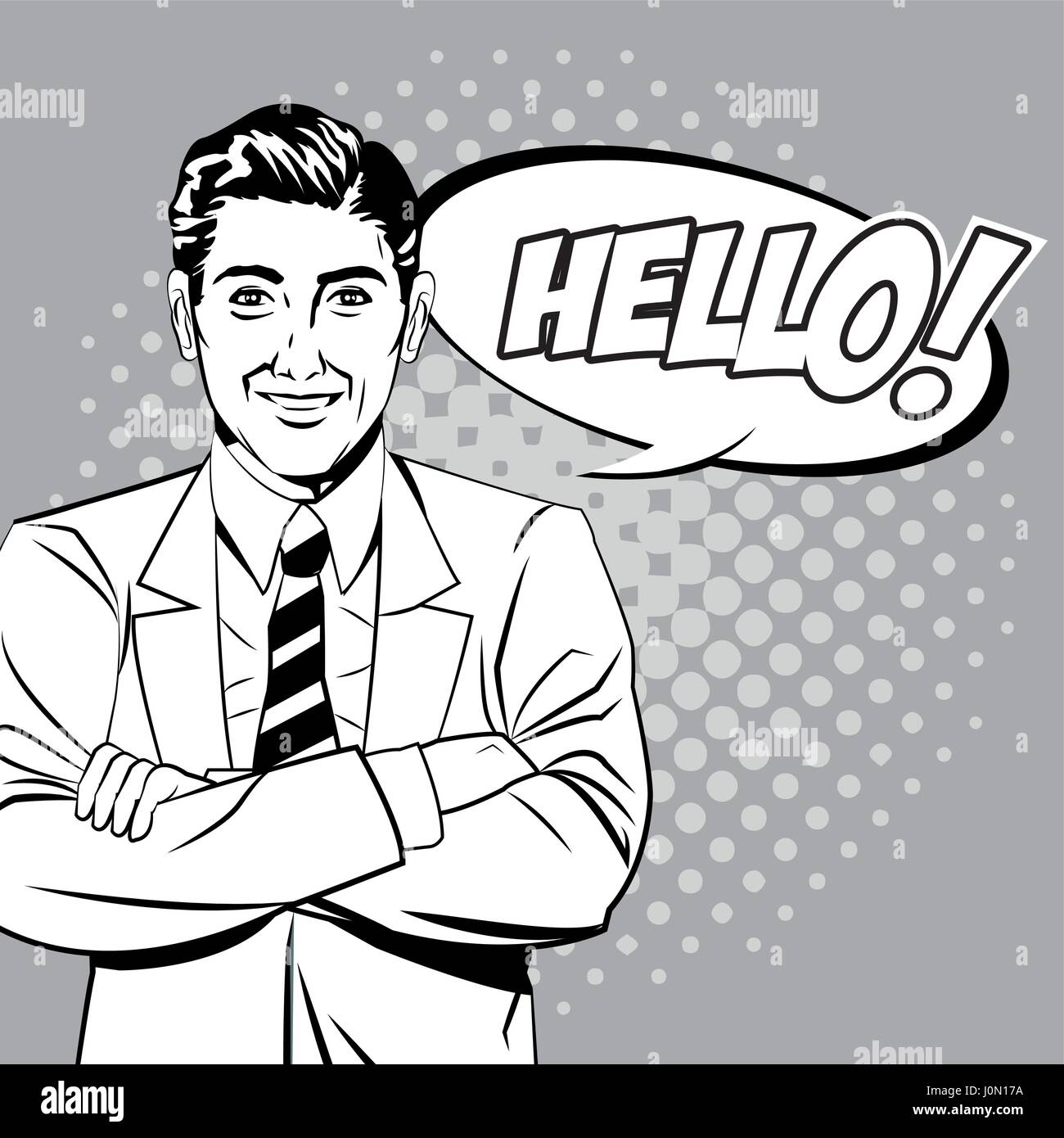 man hello talking style pop art - Stock Vector