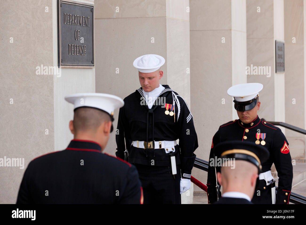 Honor cordon joint service members at Pentagon River entrance during foreign dignitary visit - Washington, DC USA - Stock Image