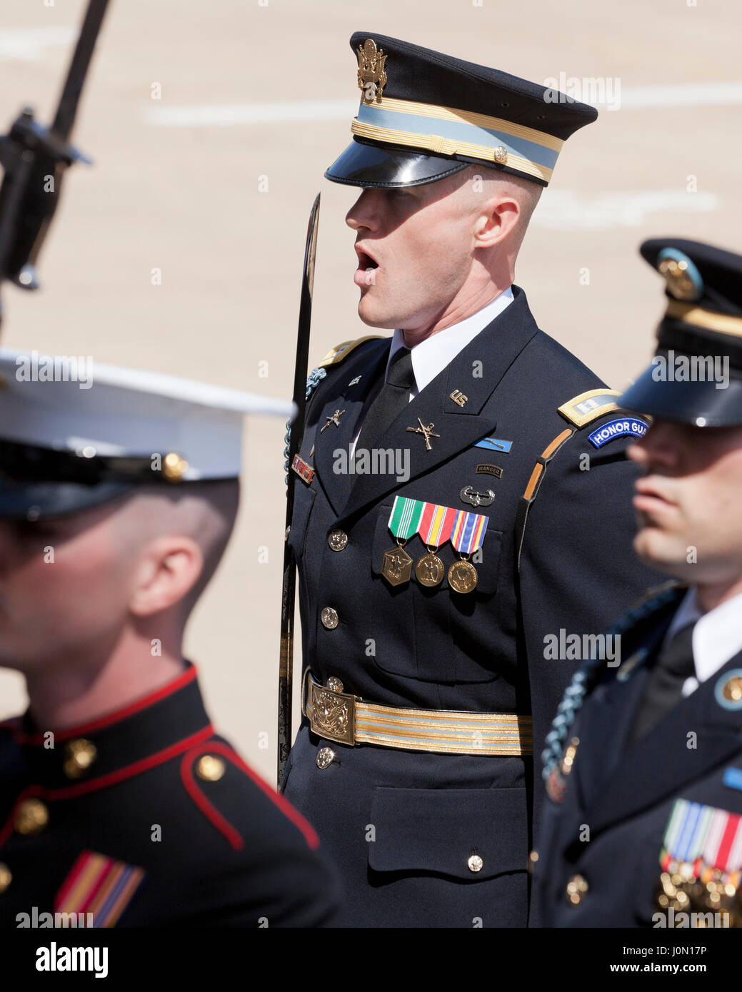 US Army Officer in Joint Service Honor Cordon at The Pentagon - Washington, DC USA - Stock Image