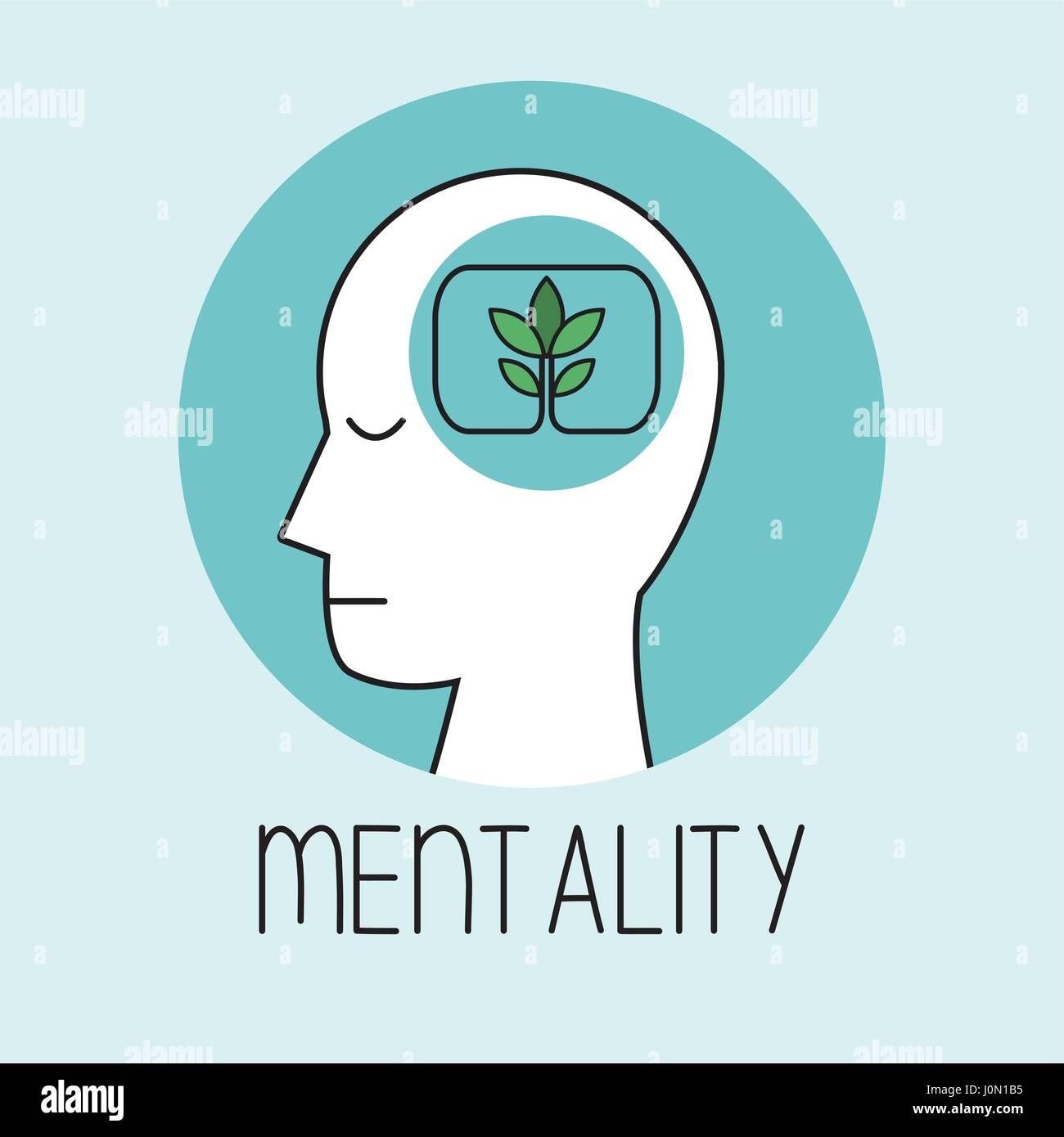 profile human head mentality - Stock Vector