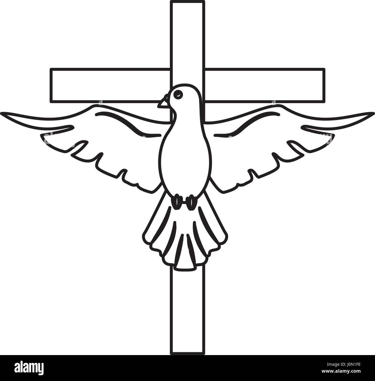 holy spirit with cross sacred outline Stock Vector Art