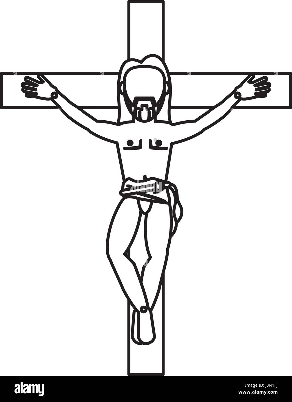 Jesus Christ Crucifixion Cross Sacred Outline