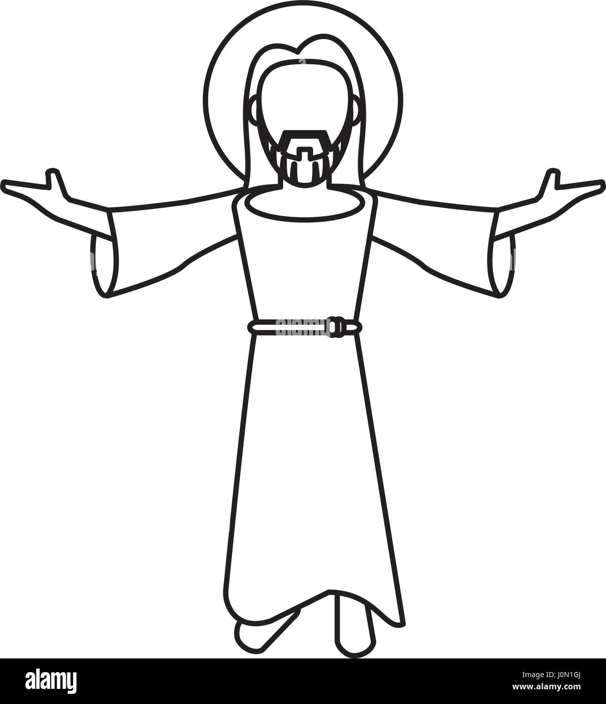 Jesus Christ Blessed Faith Outline   Stock Image