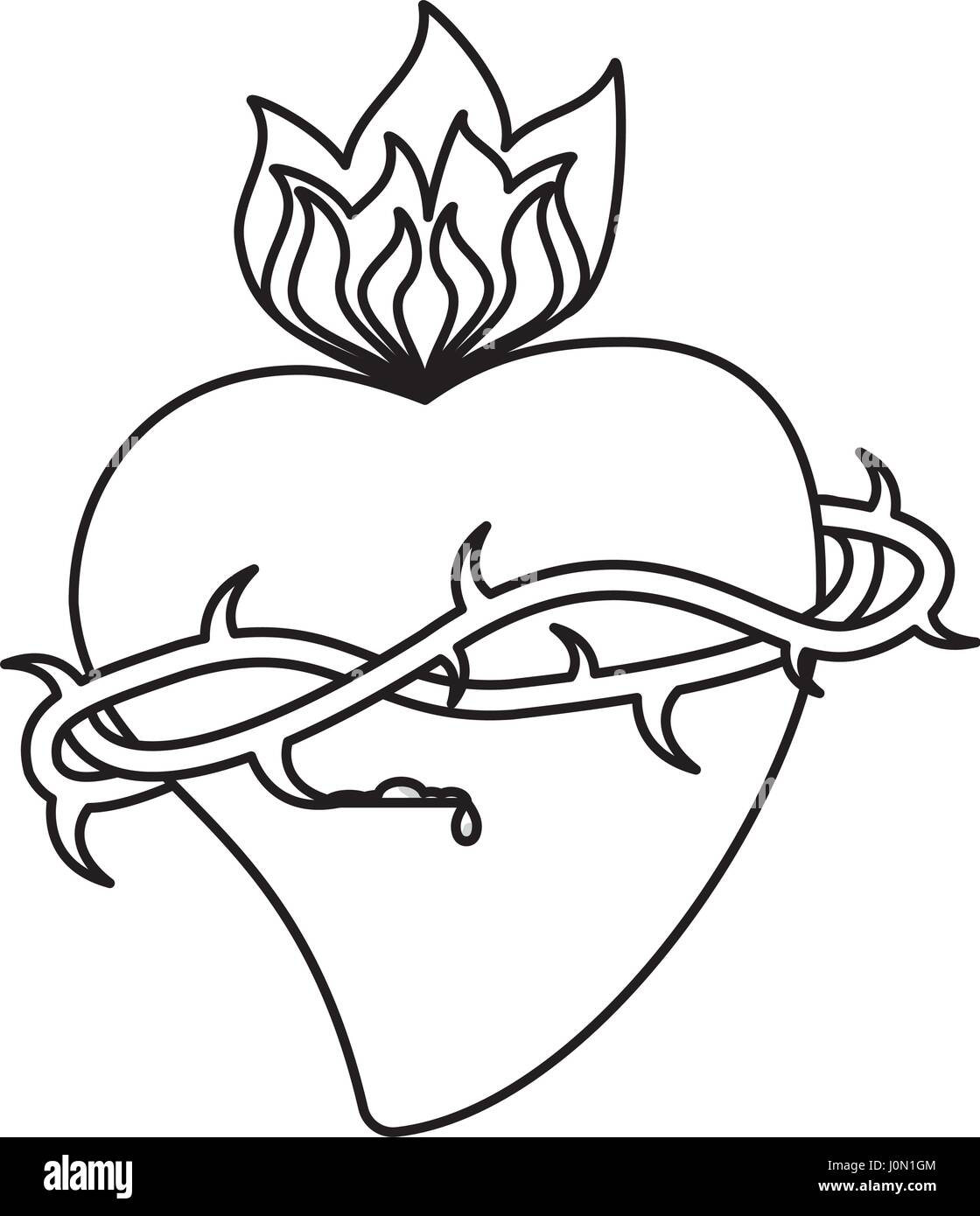 sacred heart crown flame outline - Stock Vector