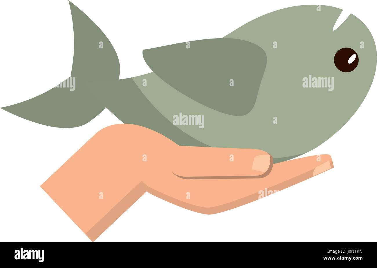 Hand Holding Fish Catholic Symbol Stock Vector Art Illustration