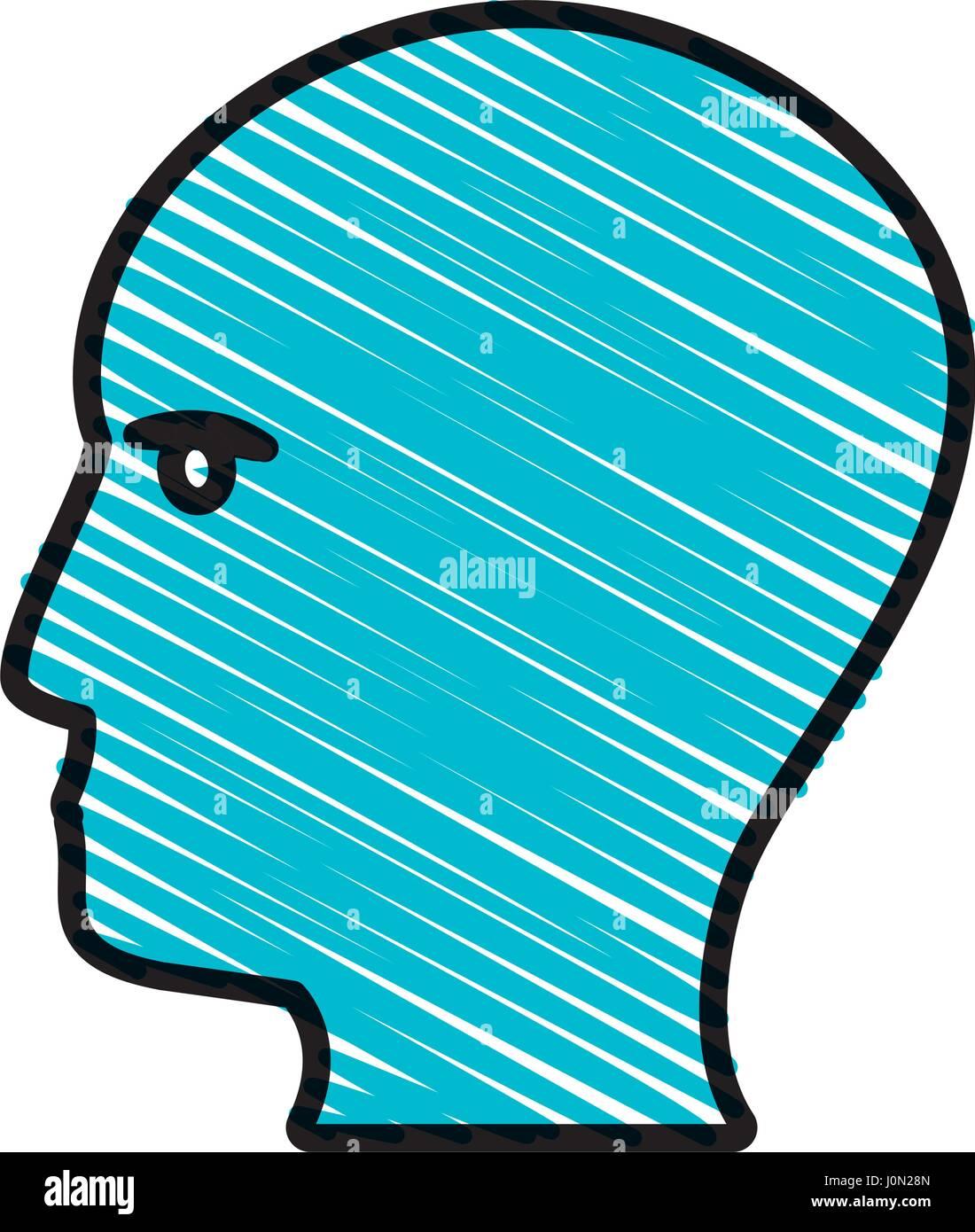 drawing blue profile head idea - Stock Image