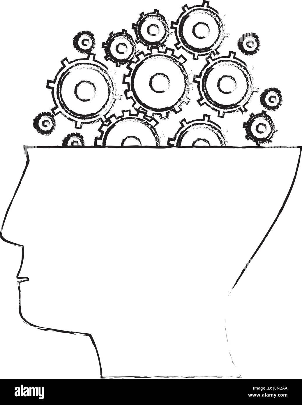 head human gear idea sketch - Stock Image