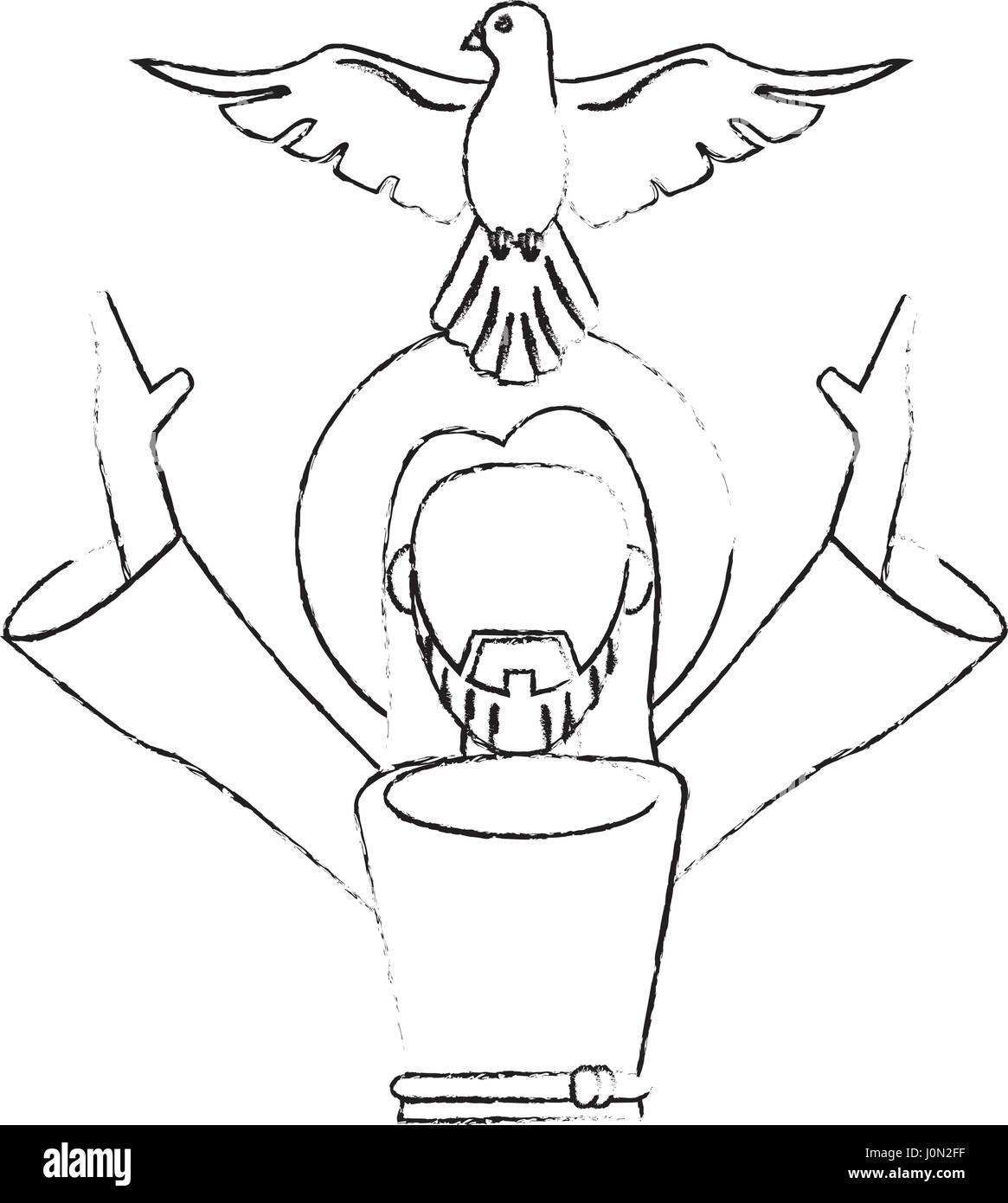 jesus christ holy spirit devotion sacrifice skecth - Stock Image