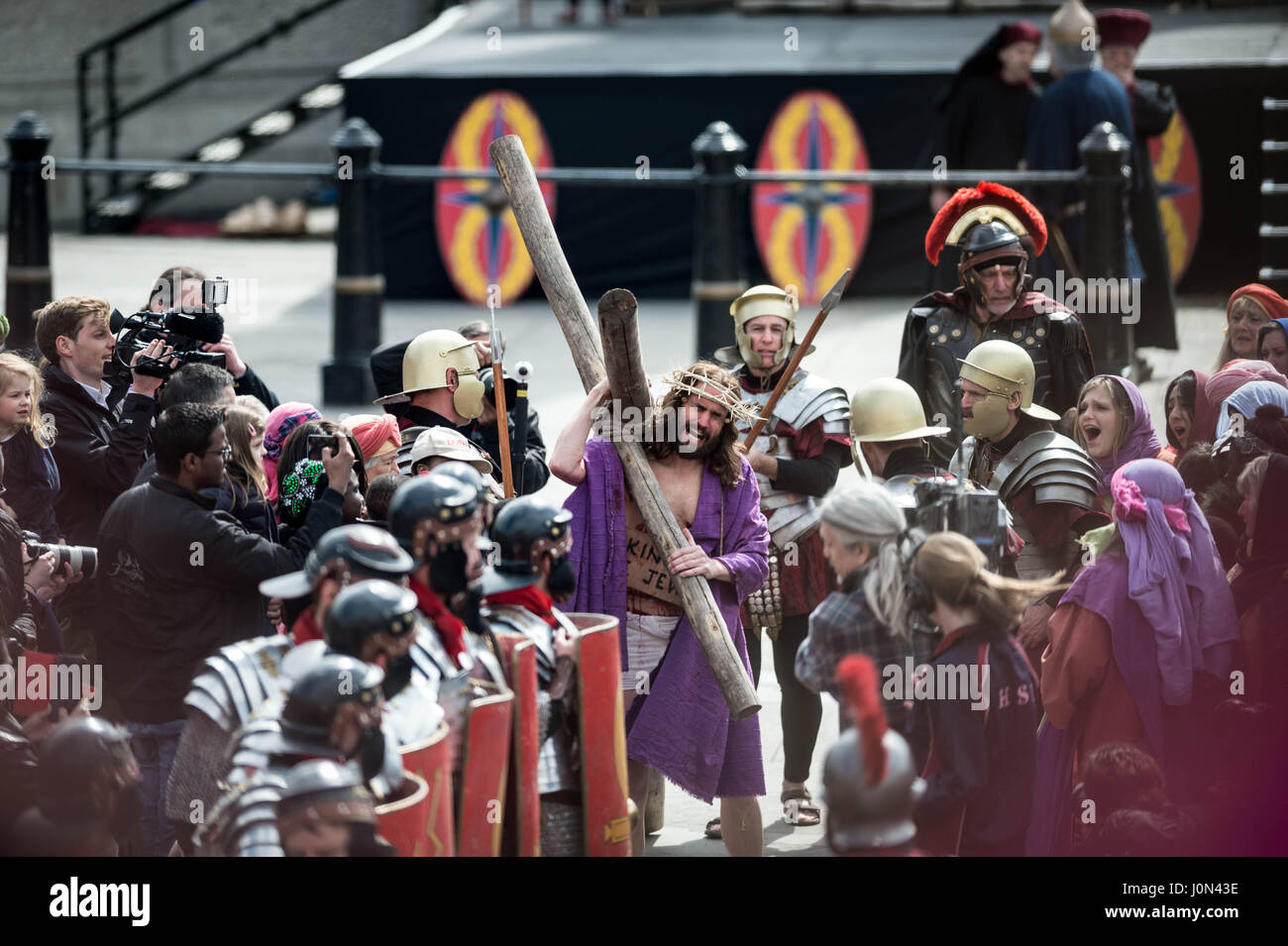 London, UK. 14th April, 2017. The Passion of Jesus play by the Wintershall Charitable Trust in Trafalgar Square - Stock Image