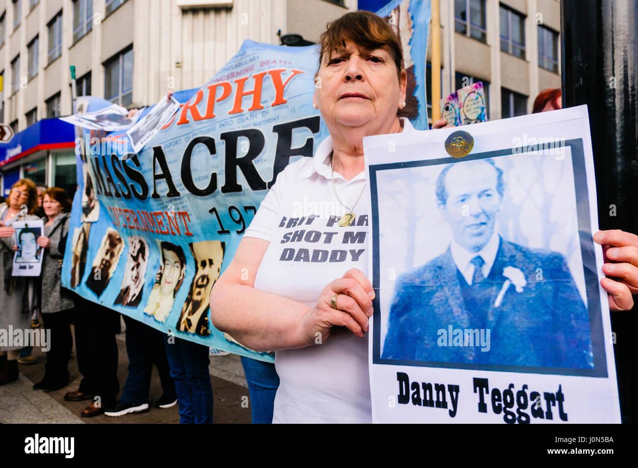 Belfast, Northern Ireland. 14 Apr 2017 - Irish Republican group Saoradh protest against British Army Veterans at - Stock Image