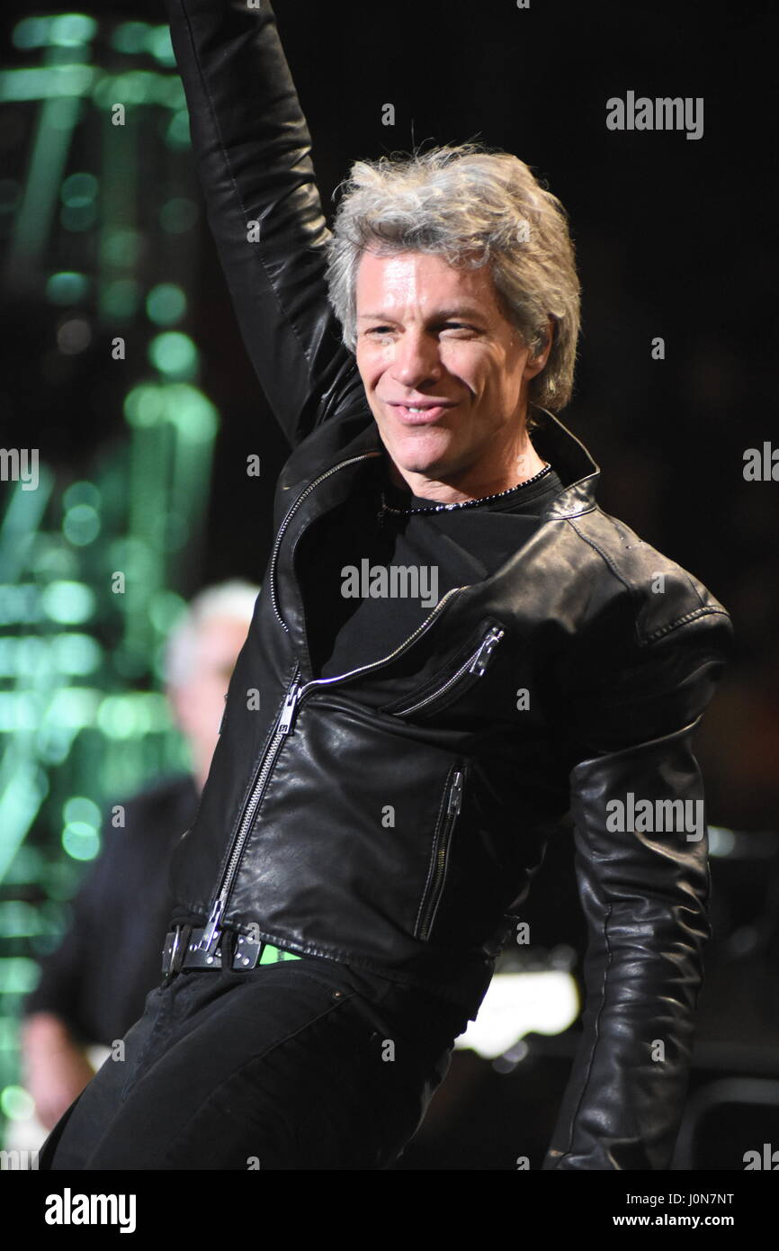 New york usa 13th apr 2017 jon bon jovi and his band Bon jovi madison square garden april 15