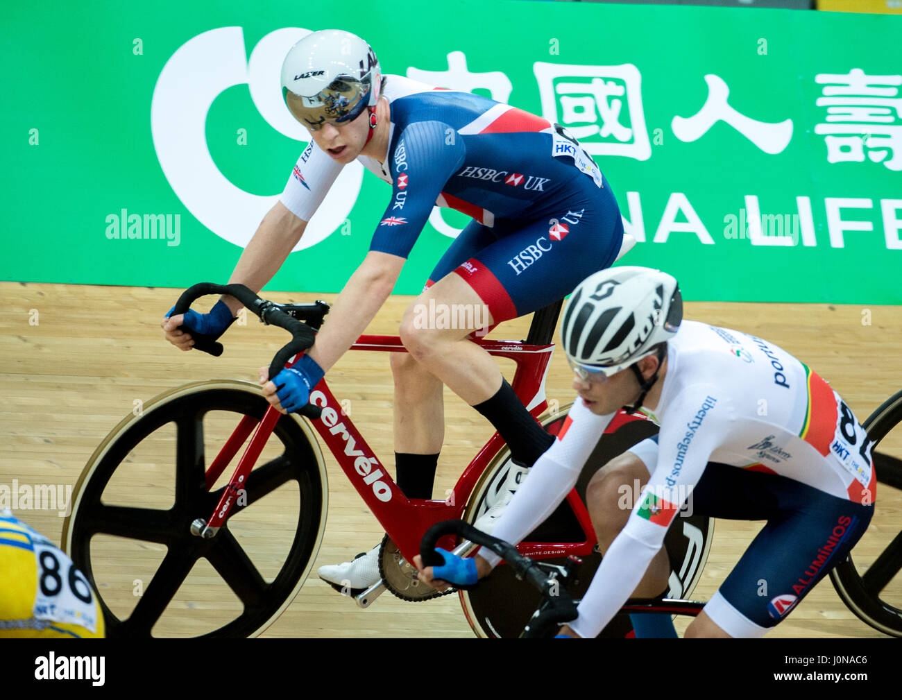 Hong Kong, China. 14th Apr, 2017. Great Britain's Mark Stewart competes in the Mens Points race Final at Track - Stock Image
