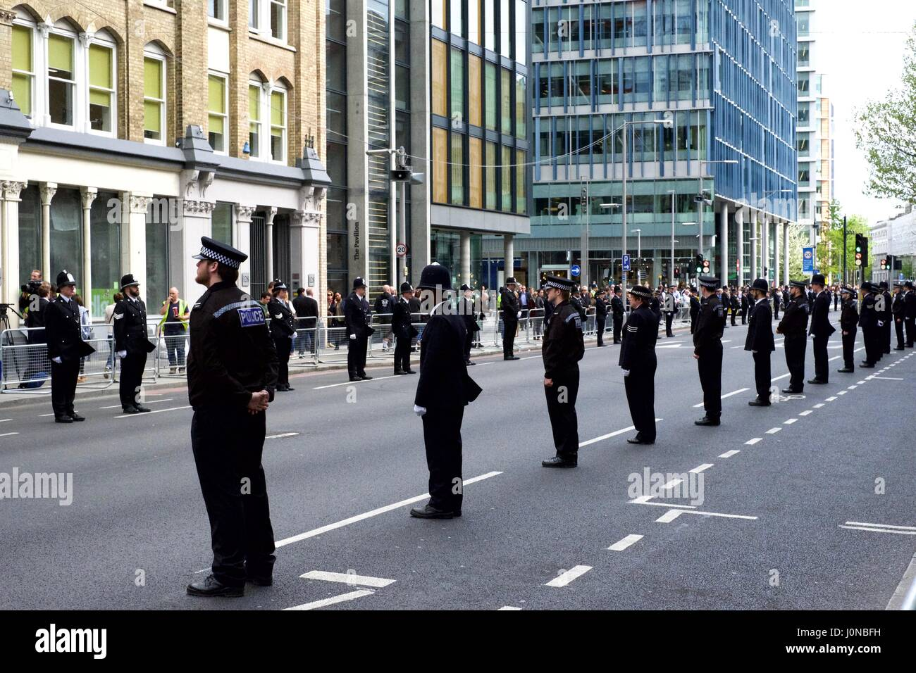 Police lining the street at the funeral of PC Keith Palmer - Stock Image