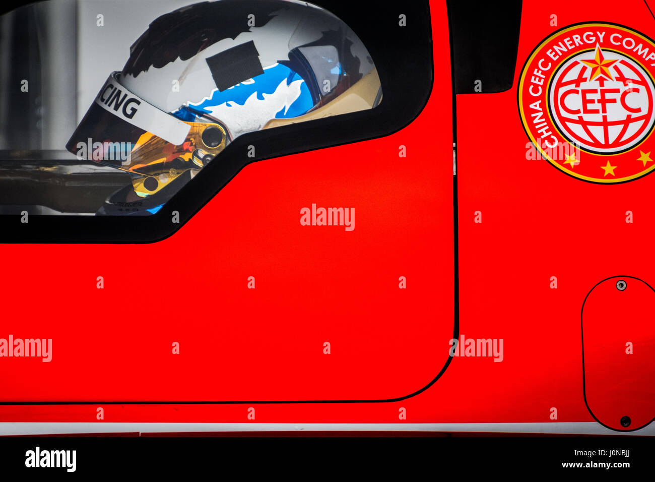 Towcester, Northamptonshire, UK. 15th April, 2017. FIA WEC racing driver Vitaly Petrov and CEFC Manor TRS Racing - Stock Image