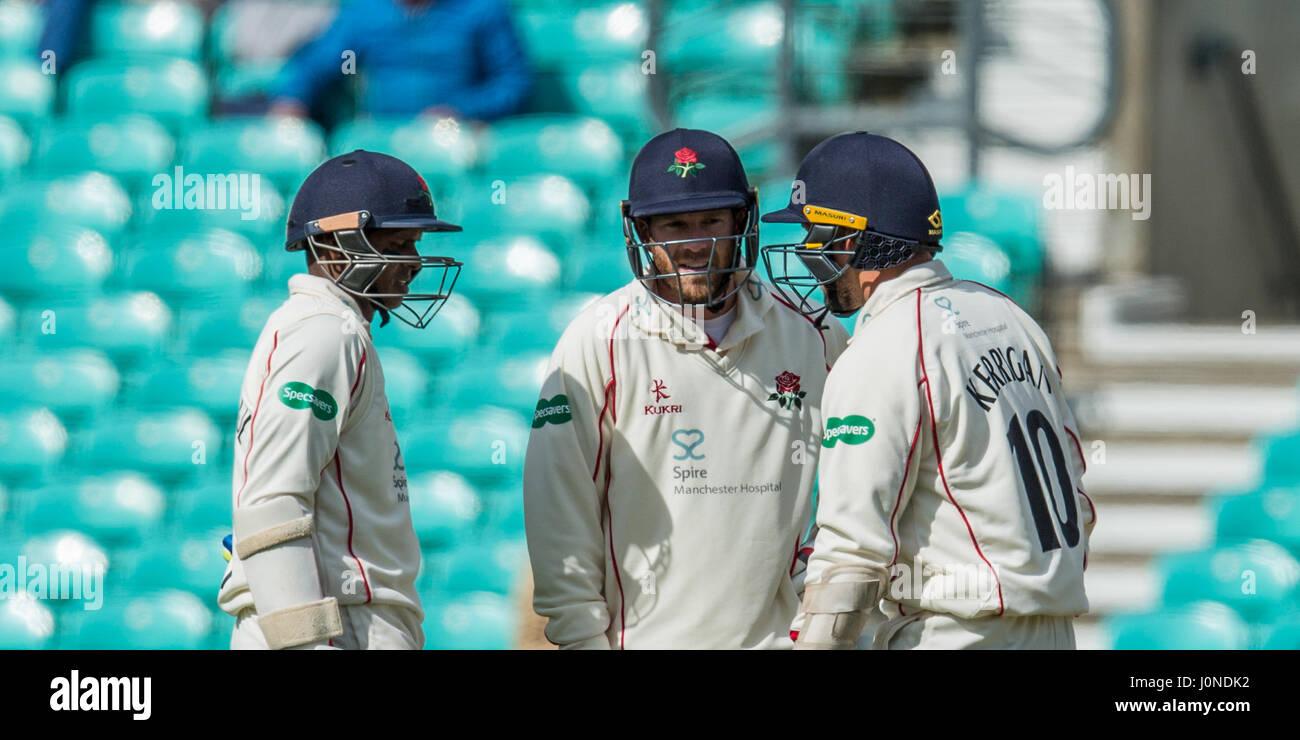 London, UK. 15 April, 2017. L-R Shivnarine Chanderpaul (batting), Luke Procter (runner) and Simon Kerrigan (batting). - Stock Image