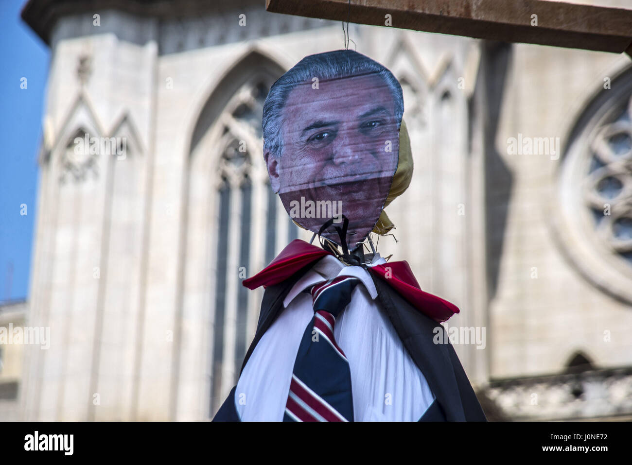 April 15, 2017 - SâO Paulo, São paulo, Brazil - In the city of São Paulo, Judas chosen to be spotted was the Stock Photo