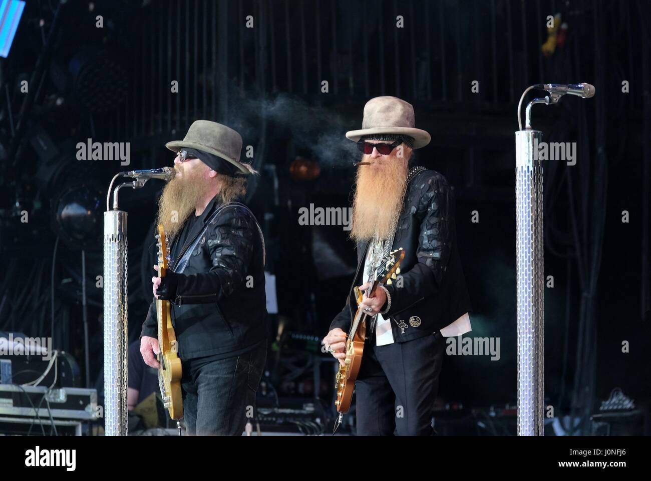 ZZ Top on the Pyramid Stage at Glastonbury Festival - Stock Image