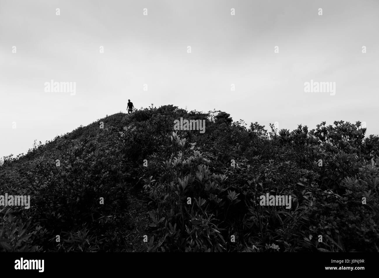 Hiking up Lantau Peak via Dogs Tooth Trail, Lantau, Hong Kong 2017 - Stock Image