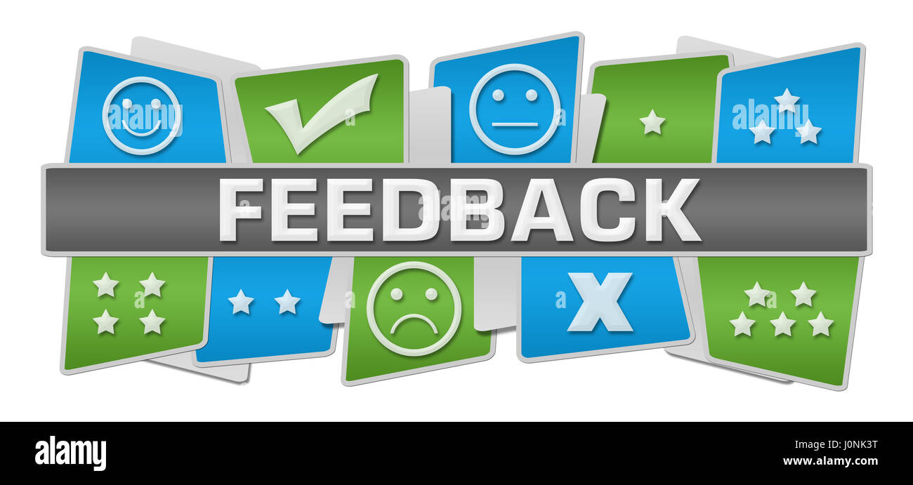 Feedback Green Blue Squares Top Bottom - Stock Image