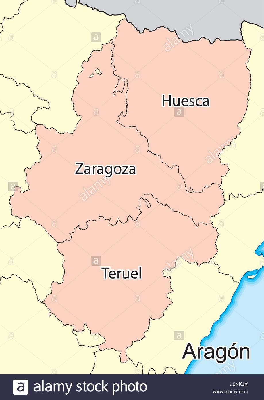 Vector map of the autonomous community of Aragon Spain Elements of