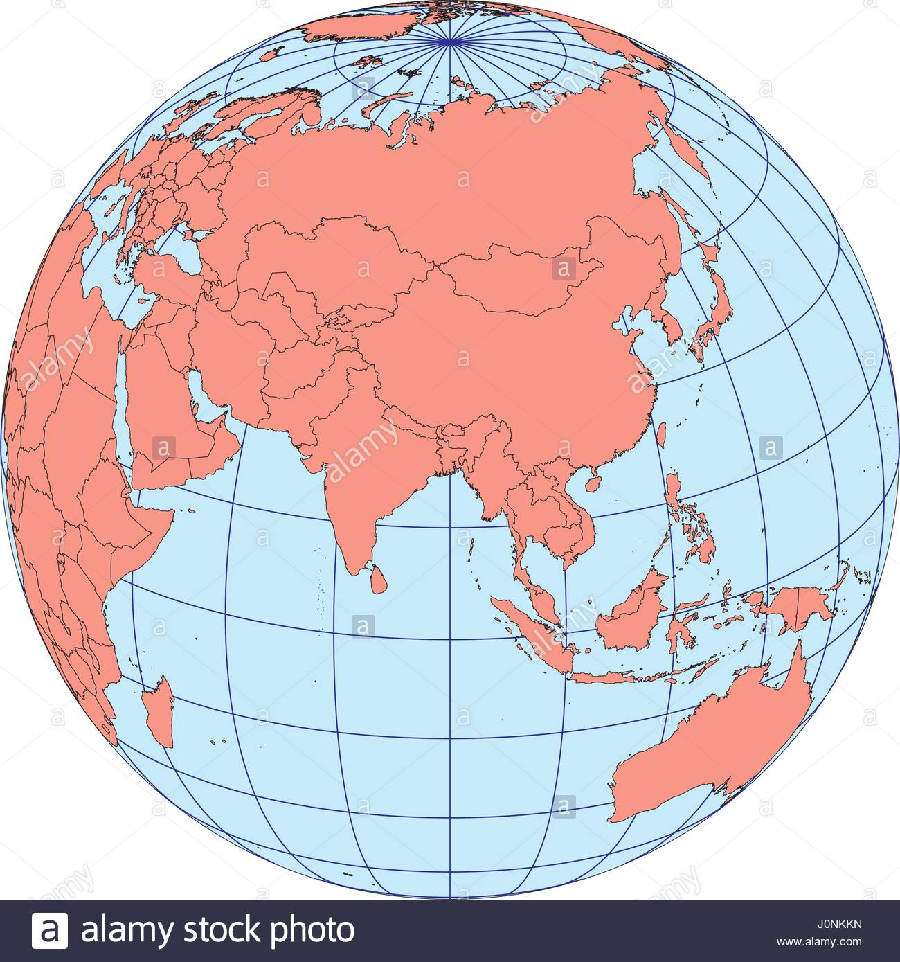 World Map Asia Centered.Globe Map Centered On Asia Ortographic Projection With Graticule