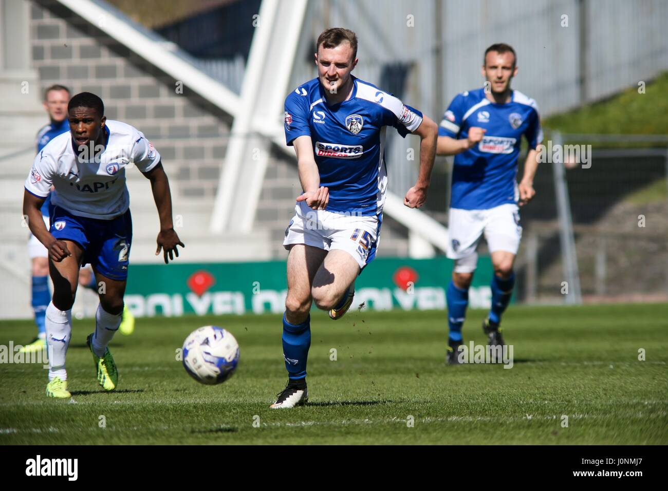 Carl Winchester with the ball during the Sky Bet League 1 match between Oldham Athletic FC and Chesterfield FC at - Stock Image