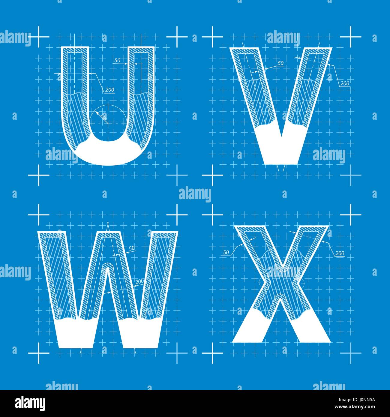 Construction sketches of u v w x letters blueprint style font stock construction sketches of u v w x letters blueprint style font malvernweather Images