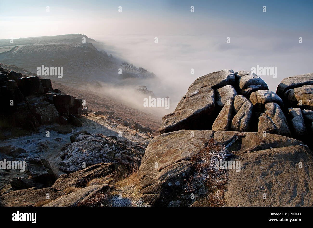 Curbar Edge, Derbyshire, Peak District - Stock Image