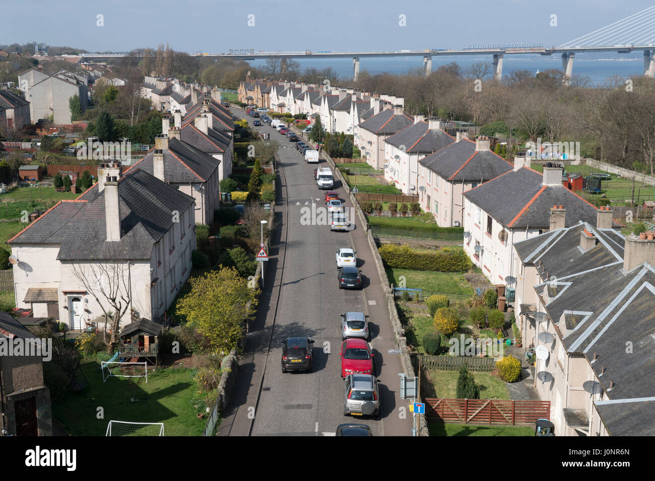 Looking down roofs on row of houses in South Queensferry Scotland, United Kingdom - Stock Image