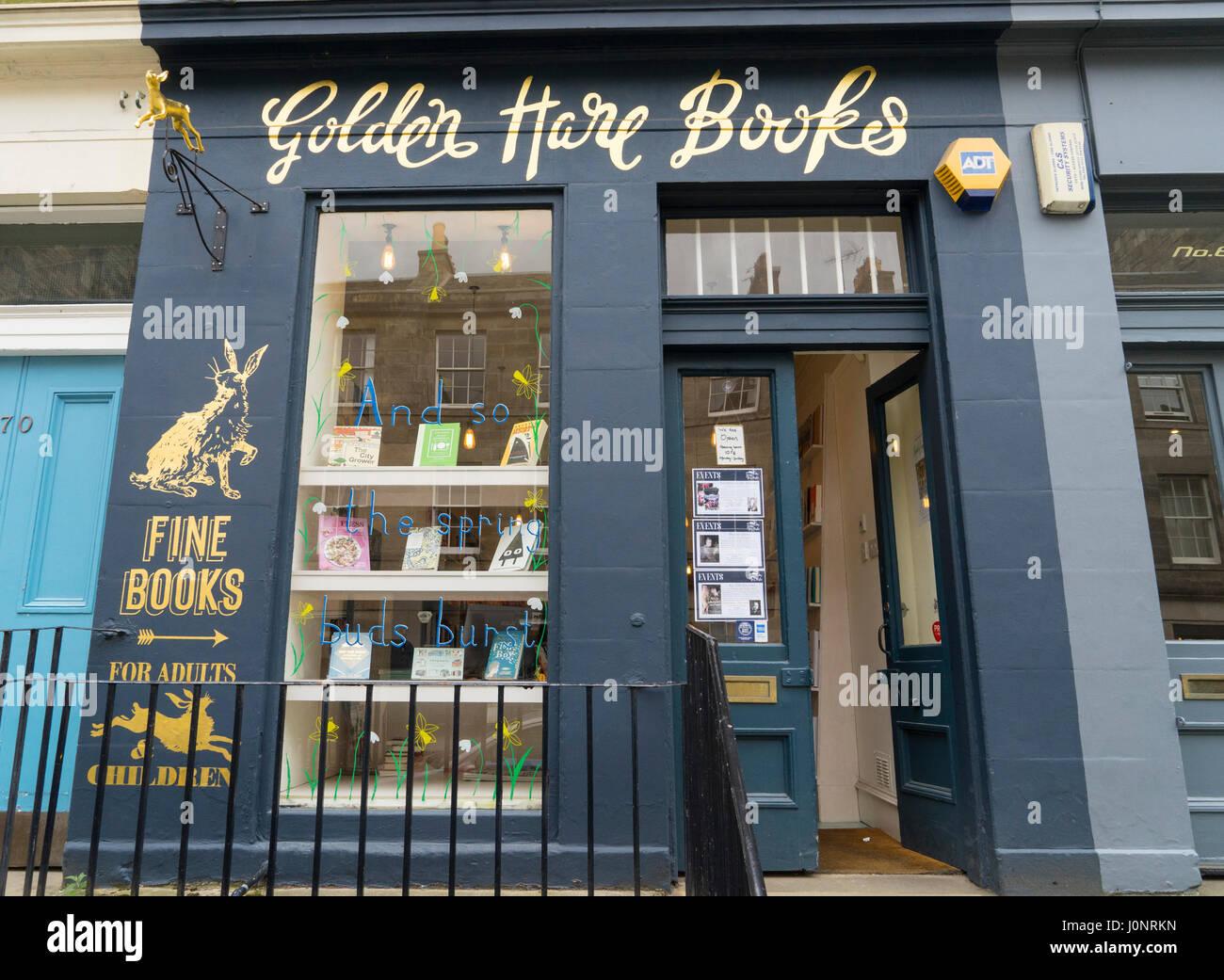 Small independent bookshop , Golden Hare Books, in Stockbridge, Edinburgh, Scotland, UK - Stock Image