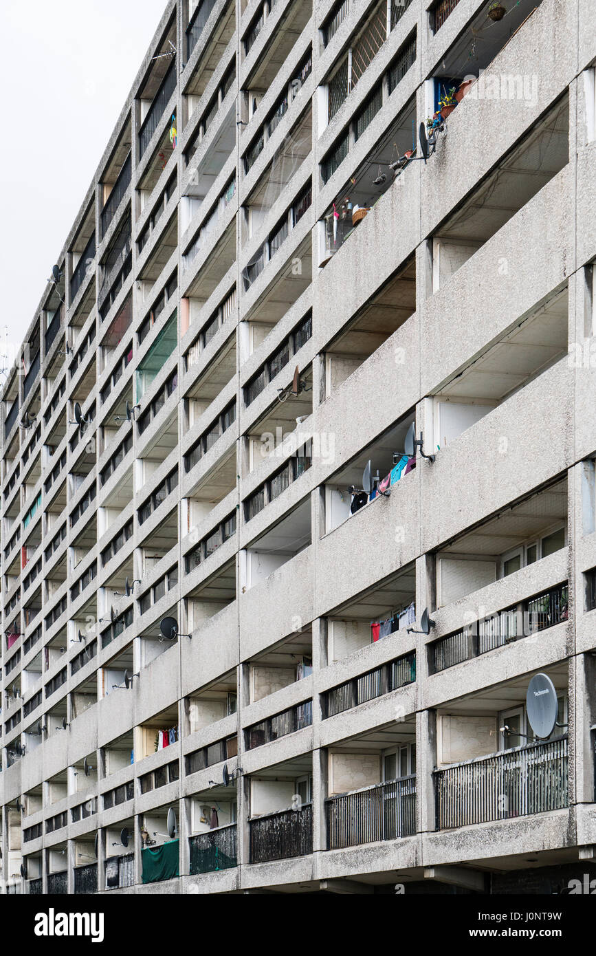 Exterior of Cables Wynd House apartment building , also known as the Banana Flats, in Leith, Edinburgh, Scotland. Stock Photo