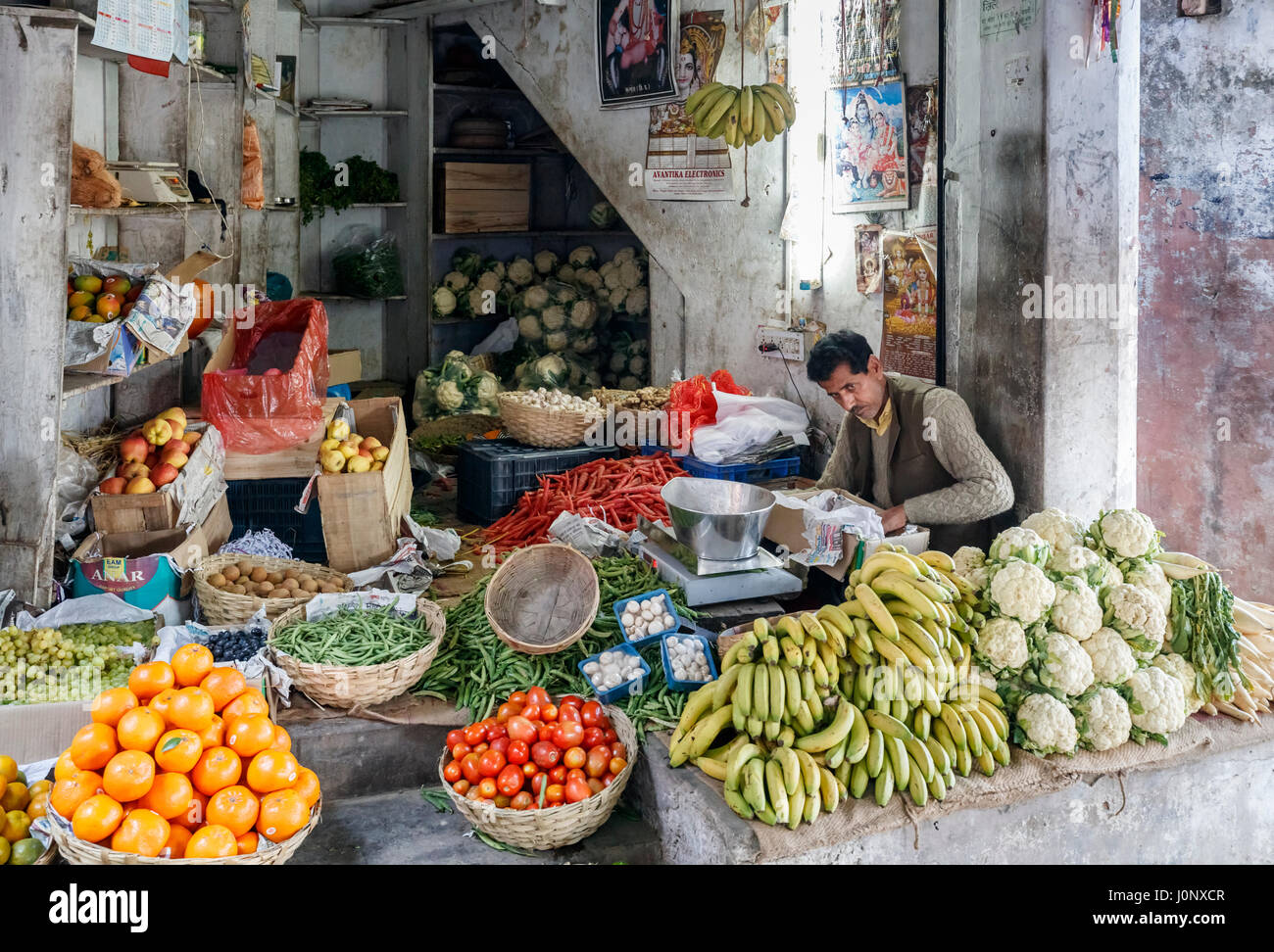 Local shopkeeper in a greengrocery shop in Pragpur heritage village, Kagra district, Himachal Pradesh, India with - Stock Image