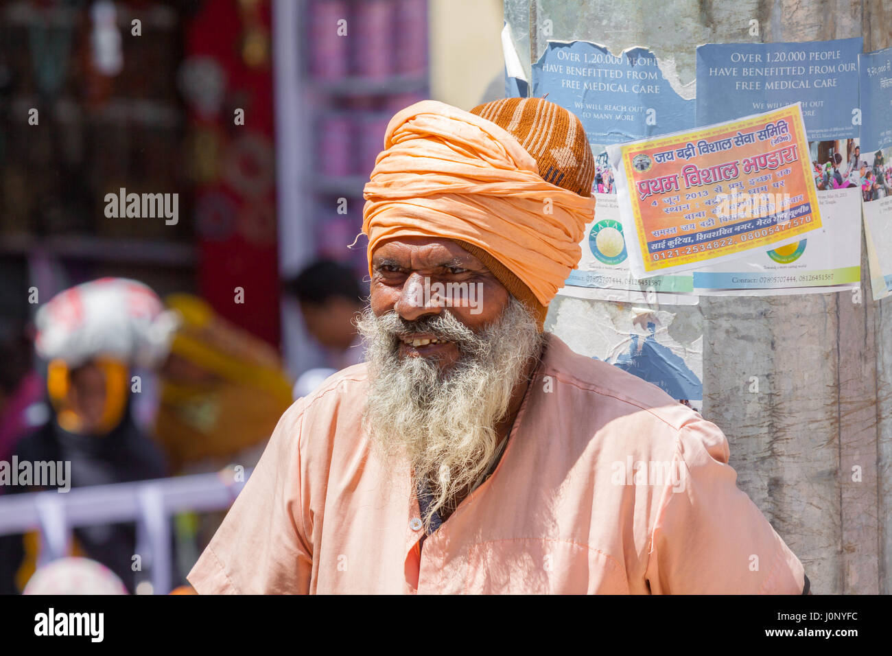 BADRINATH - INDIA, JUNE 5th - An old sadhu at the temple of Badarinath in North India on June 5th 2013 - Stock Image